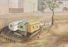 Wohnwägen Mischtechnik/Papier 16 x cm abgebildet in Wilhelm Jaruska S. Shops, World War Two, Beautiful Landscapes, Two By Two, Artist, Animals, Paper, Interwar Period, Aries