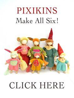 Pixikin waldorf style bendy doll kits by malphi on Etsy