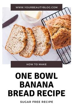 Easy healthy banana bread recipe. This moist homemade recipe can be made in one bowl. Make a skinny quick bread with white whole wheat flour, no sugar, no nuts and eggless. This is the best recipe for a banana bread with low calories. It can also be made into muffins or mini loaves. #bananabread #healthy #skinny One Bowl Banana Bread, Healthy Banana Bread, Banana Bread Recipes, Healthy Soda, Healthy Cooking, Cooking Tips, Healthy Recipes, Gourmet Chicken, Chicken Tender Recipes