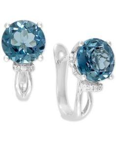 Final Call by Effy London Blue Topaz (9-1/4 ct. t.w.) & Diamond Accent Drop Earrings in 14k White Gold - London Blue