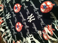 Fleecy and fringed. Perfect for all things NY Yankees.