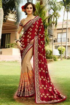 Buy Red Chiffon Designer Saree Online in low price at Variation. Huge collection of Designer Sarees for Wedding. #designer #designersarees #sarees #onlineshopping #latest #lowprice #variation. To see more - https://www.variationfashion.com/collections/designer-sarees
