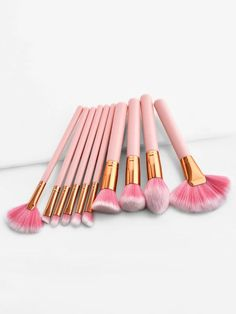 Beauty Makeup Brushes Set Cosmetic Foundation Powder Blush Eye Shadow Liner Lip Make Up Brush Tools Kits Maquiagem Eye Makeup Glitter, Gold Makeup, Pink Makeup, Beauty Makeup, Makeup Lipstick, Make Makeup, How To Clean Makeup Brushes, Makeup Tools, Makeup Ideas