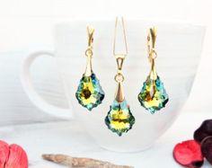 Swarovski Crystal AB Heart Earring Necklace Set by MalisaJewellery