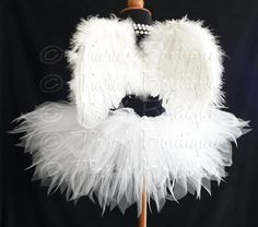 """Angel Tutu Costume - 8"""" Tutu and Angel Wings - For Girls, Babies, Toddlers - Valentine's Day on Etsy, $42.00"""