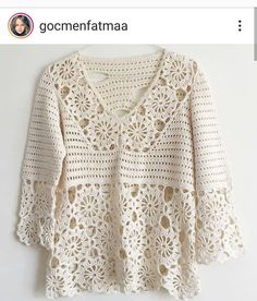 <img> White motif crochet blouse for you to share and be inspired by all crochet hooks. Cardigan Au Crochet, Crochet Shirt, Crochet Jacket, Crochet Bikini, Pull Crochet, Mode Crochet, Knit Crochet, Crochet Hooks, Crochet Stitches Patterns