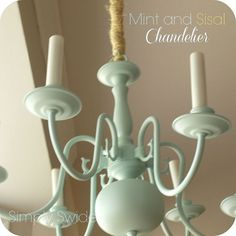 mint and sisal chandelier makeover, electrical lighting, furniture furniture revivals, painting, Brass Chandelier updated with mint spray paint and sisal rope