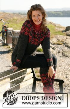 """Free pattern: Knitted DROPS jumper with round yoke and Norwegian pattern in """"Nepal"""", """"Alpaca"""" and """"Fabel"""". Size: S to XXXL. ~ DROPS Design"""