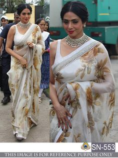 Latest Designer Bollywood Shri Devi White Georgette Saree - for women online Please msg or whatsapp at 7534937587 for order details Sabyasachi Sarees, Bollywood Saree, Indian Sarees, Anarkali, Georgette Sarees, Bollywood Fashion, Organza Saree, Net Saree, Lehenga Choli