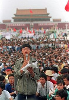 This is a May 1989 photo of student leader Wang Dan in Tiananmen Square Beijing calling for a city wide march. Political Reform, Political Views, China, Party Rules, Nostalgia, We Are The World, Abc News, History Books, Historical Photos