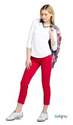 Golf #OOTD: 3/4 sleeve top and skinny #red ankle pant #golf4her #ggblue