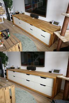 Long TV stand from IKEA Stolmen http://www.ikeahackers.net/2017/06/tv-stand-ikea-stolmen-hack.html