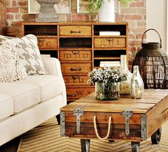 Here are some living room design ideas to create an industrial farmhouse look. Add texture and height and layers to create a warm welcoming space.