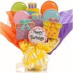 Happy Birthday Cookie BouquetsThis year surprise them with our most popular cookie gift bouquet, loaded with presents, balloons and birthday cake.  These happy birthday cookie bouquets are made from delicious butter creme cookie are  baked fresh each day and individually hand-decorated, wrapped and packaged with delicate care.All cookies are produced in a facility that uses peanuts