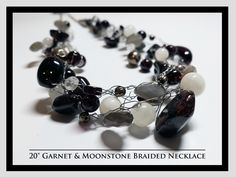 Garnet & Moonstone Braid Necklace and Earrings Rock Necklace, Braided Necklace, Garnet, Rocks, Braids, Pearl Earrings, Necklaces, Pearls, Jewelry