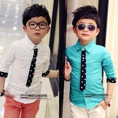 Roupa dos miúdos meninos primavera / outono collar camisa com laço de duas cores de manga camisa da forma do menino atacado(China (Mainland))