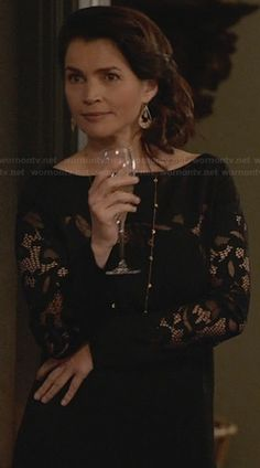 Joanna's black lace dress on Witches of East End.  Outfit Details: http://wornontv.net/23589/ #WitchesofEastEnd