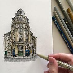 #art #drawing #pen #sketch #illustration #architecture #building #paris #france…
