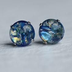 Blue Opal Earrings ... Sterling Silver with Vintage Glass by SilkPurseSowsEar on Etsy (null)