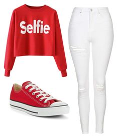 """Untitled #497"" by cuteskyiscute ❤ liked on Polyvore featuring Topshop and Converse"