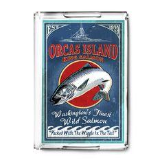 Orcas Island (Blue) WA - Salmon Vintage Sign - LP Artwork (Acrylic Serving Tray)