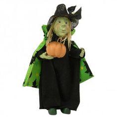 "Byers' Choice Halloween, ""Hazel"" Witch Kindle with Pumpkin"