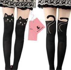 MONDAYNOON Medias Gatito Imprimir Calcetines gato medias del tatuaje de Panti Ropa Interior (gato)