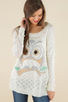 Hoo's That Girl Sweater-Cream