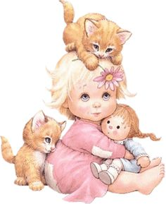 Kelly the Kitten for the grand-darling and Kady the Kitten for Dolly...kids and kittens are the treasures of the Cottage.