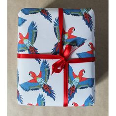 Parrot Gift Wrap tropical wrapping paper by marthaandhepsie
