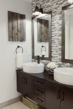 """love the mix of rustic woods and contemporary fixtures. """"Backsplash"""" in the bathroom, neat idea"""