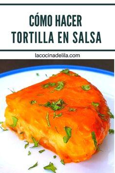 Aprende como hacer mi tortilla en salsa. Es totalmente Original(inventada por mi). Una receta de tortilla guisada de aprovechamiento con la que sorprenderás a quien la pruebe pues es deliciosa. Puedes hacerla como hice yo o utilizar la tortilla de patatas que te sobró del día anterior. #tortilla #lacocinadelila