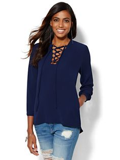 Shop 7th Avenue Design Studio - Lace-Up Blouse . Find your perfect size online at the best price at New York & Company.