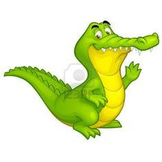 happy fun crocodile cartoon smiling alligator character illustration isolated on white background Stock Photo - 14210117