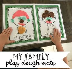 Free family play dough mats for young children to use to talk about family members. Great for a family theme for preschool.