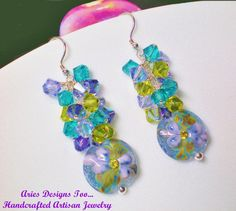 Fantasy Floral Lampwork Earrings in by ariesdesignstoo on Etsy