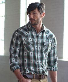 Men's Ryan Michael Dobby Plaid Shirt at Maverick Western Wear