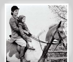 Jackie Kennedy with Caroline on horseback. Get the former First Lady's fitness secrets from her trainer herself! (Photo: Hawkins Collection, National Sporting Library, Va)
