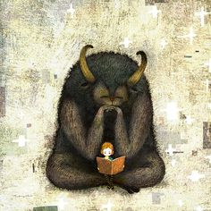 What's better than a monster?  How about this monster reading a book.  Illustration by Yoko Tanji.