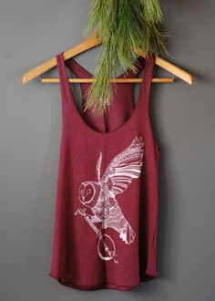 Ghost Banjo - womens owl tri-blend racer back jersey tank top - in Cranberry - by Bark Decor on Etsy, $28.00