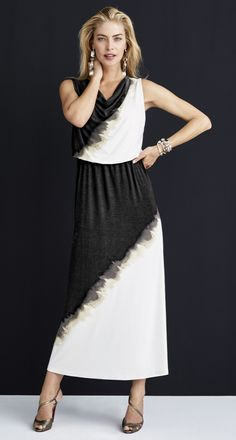 ac45557deefe Dramatic Brushstroke Maxi Dress. Turn heads in this black and white maxi  dress. White