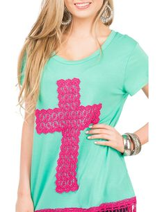 Southern Grace Women's Mint with Hot Pink Cross and Crochet Fringe Cap Sleeve Casual Knit Top | Cavender's