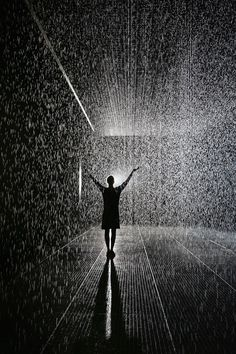 "Photo by © Oli Scarff - Have ever dreamt of walking through the rain without getting wet? The Barbican Centre, London ""Rain Room"" exhibit was designed to let people experience this. Oct 2012. S)"