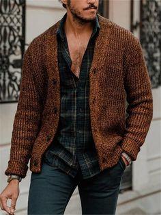 Fashion Men's Knit Cardigan – joymanmall sweaters with skirts sweaters for men sweaters for men fashion sweaters for men winter sweaters for men cardigan Brown Cardigan Outfit, Cardigan Outfits, Cardigan Fashion, Mens Knitted Cardigan, Men Sweater, Men Cardigan, Stylish Men, Men Casual, Mens Clothing Styles