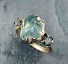Raw Uncut Aquamarine Diamond Gold Engagement Ring Wedding Ring Custom One Of a…