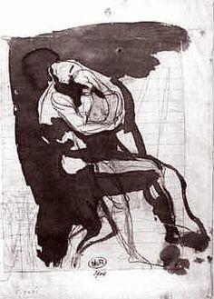 The kiss sketch, Rodin