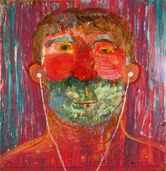 iPod Guy by Nicole_Eisenman via Painting Collage, Figure Painting, Art Paintings, Rose Wylie, Art Brut, Pop Surrealism, Portrait Art, Portraits, Online Painting