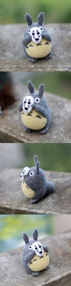 Handmade Needle felted felting project animal cute Totoro felted wool doll