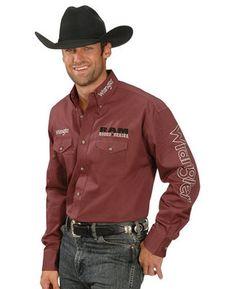 WRANGLER Mens DODGE RAM RODEO LOGO Shirt - M - ED - Wine - Fully Embroidered | eBay