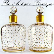 PAIR Antique French Paris Crystal & Gilt Painted Scent, Perfume Bottles SIGNED Le Rosey